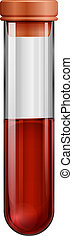 A test tube with a blood sample - Illustration of a test...