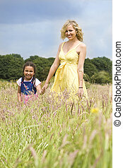 Natural Mother and Child - A beautiful blond haired blue...