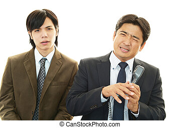 Stressed Asian businessmen - Very disappointed man isolated...