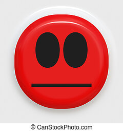 angry face - red smiley face looking angry or ashamed