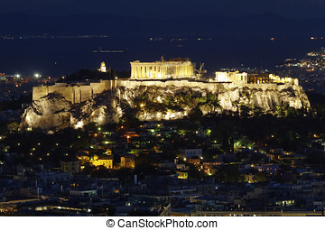 Acropolis and Athens cityscape, Greece - Parthenon,...
