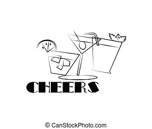 cheers line art - drinks in line art for festive toasts