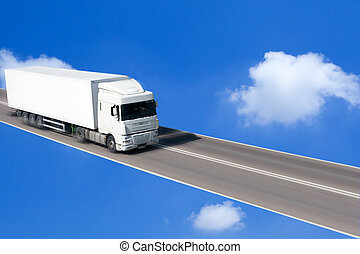 Truck Driving on the Highway in the Sky