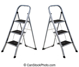 Three steps folding ladder isolated on white