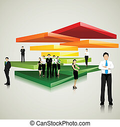 Business Team standing on Colorful Slab