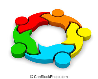 3D Icon Teamwork Support 5. Group of People