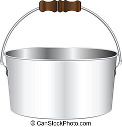 Flat pot for the bonfire with a wooden handle. Vector...