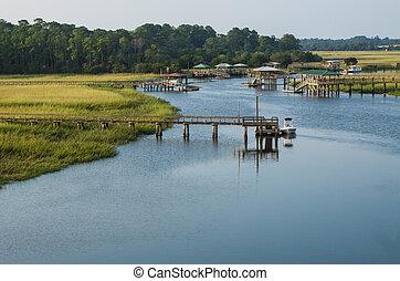 Georgia, diques, Costa, pantano, pasto o césped, barco