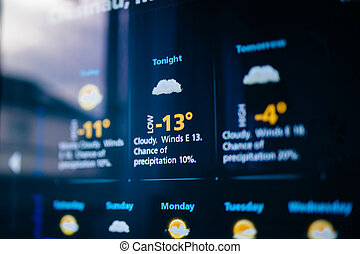 Weather forecast on a digital display - Weather forecast...