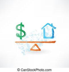 money house balance grunge icon