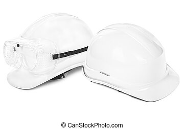 two white hard hats on white, small natural shadow under...