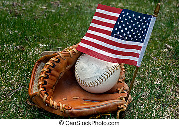 American Game - Baseball in glove with an American flag.