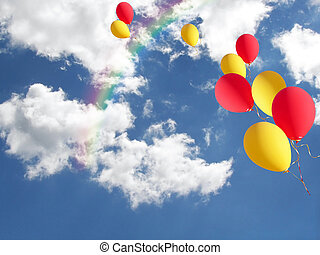 Escaping - Balloons escaping in a rainbow sky.