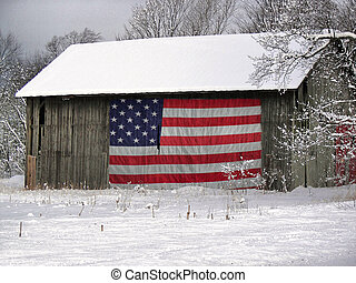 My County\'s Colors - Flag on the side of a dilapidated barn...