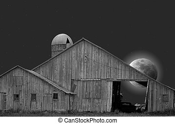 Country Moon - Full moon behind dilapidated barn