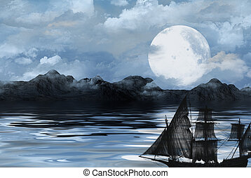 The Black Pearl - Illustration of a ghostly ship at night.