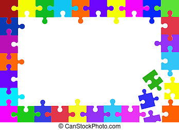 Puzzle Pieces - Colorful puzzle pieces border on white