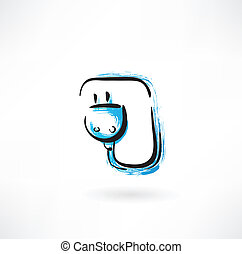 electric plug grunge icon
