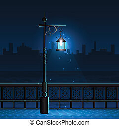 Lamp Post in Night City View - easy to edit vector...