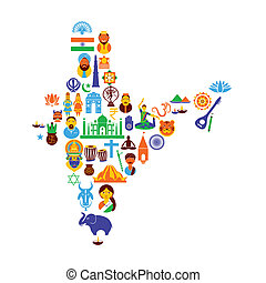 Indian Culture - easy to edit vector illustration of Indian...