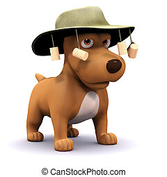 3d Dog goes to Australia - 3d render of a dog wearing an...