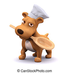 3d Chef dog with spoon - 3d render of a dog dishes dinner...
