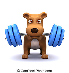 3d Dog powerlifter - 3d render of a dog lifting weights in...