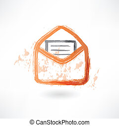 letter in an envelope grunge icon.
