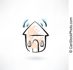 House with sound grunge icon