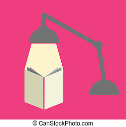 Reading with a lamp in pink background