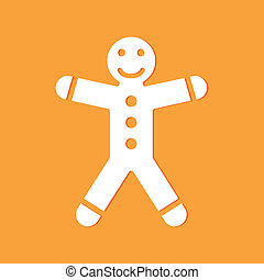gingerbread man on yellow background