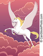 Pegasus - The winged horse Pegasus soaring in the sky. No...