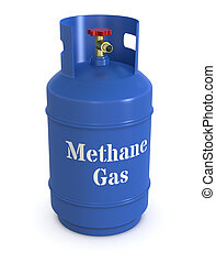 methane gas cylinder - close up of a blue methane gas...