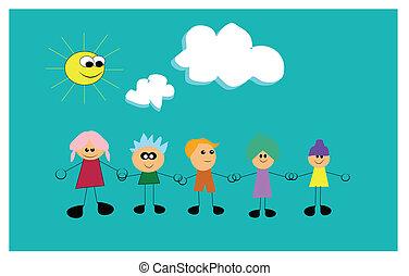 kids with bubblegum hair  - bubblegum colors