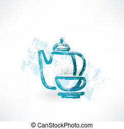 tea set grunge icon