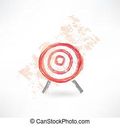 red target grunge icon.