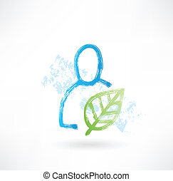 Person with plant grunge icon
