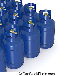 methane gas cylinders - closeup of a group of methane gas...