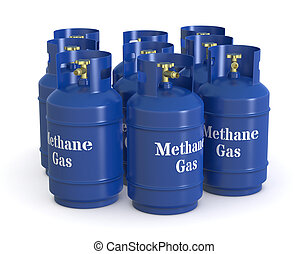 methane gas cylinders - one group of methane gas cylinders...
