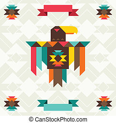 Ethnic background with eagle in navajo design