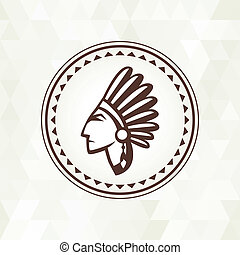 Ethnic background with indian profile in navajo design.