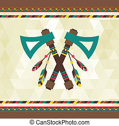 Ethnic background with tomahawk in navajo design