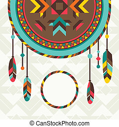 Ethnic background with dreamcatcher in navajo design.