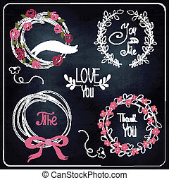 Wedding graphic set on chalkboard.