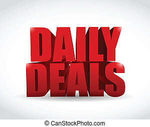 daily deals sign illustration design over a white background