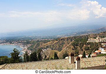 Taormina Sicily Italy - view from Taormina over the...