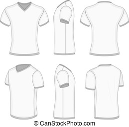Men's white short sleeve t-shirt v-neck. - All views men's...