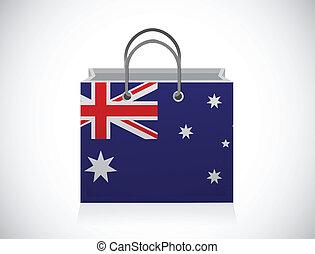 australian flag shopping bag illustration