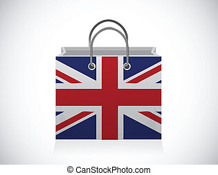 uk flag shopping bag illustration