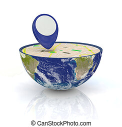 concept of gps - one earth globe divided into two parts,...